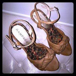 Camel colored strappy sandals